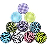 "HipGirl 50pc 1"" Flat Crown Bottle Caps For Hair Bows, Crafts, Pendants or Scrapbooks 10x5pc Double Sided Bottlecaps-Animal Prints, Zebra, Leopard and Polka Dots, 2 Sided"