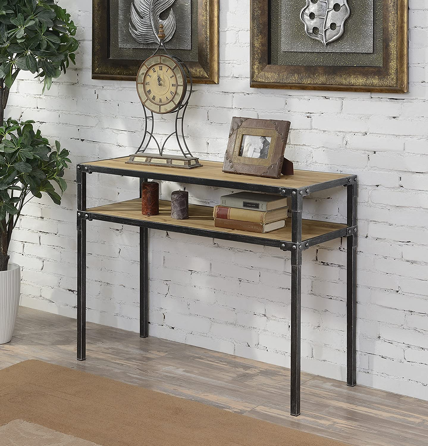 Convenience Concepts Laredo 2-Tier Console Table, Natural and Black 413199