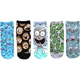 Hyp Rick and Morty Patterns Juniors/Womens 5 Pack Ankle Socks