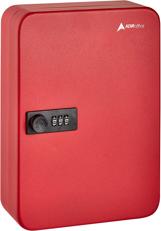 AdirOffice Key Steel Security Cabinet Box - 48 Keys Capacity - Combination Lock (Red)