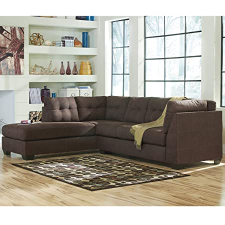 Flash Furniture Benchcraft Maier Sectional with Left Side Facing Chaise in Walnut Microfiber