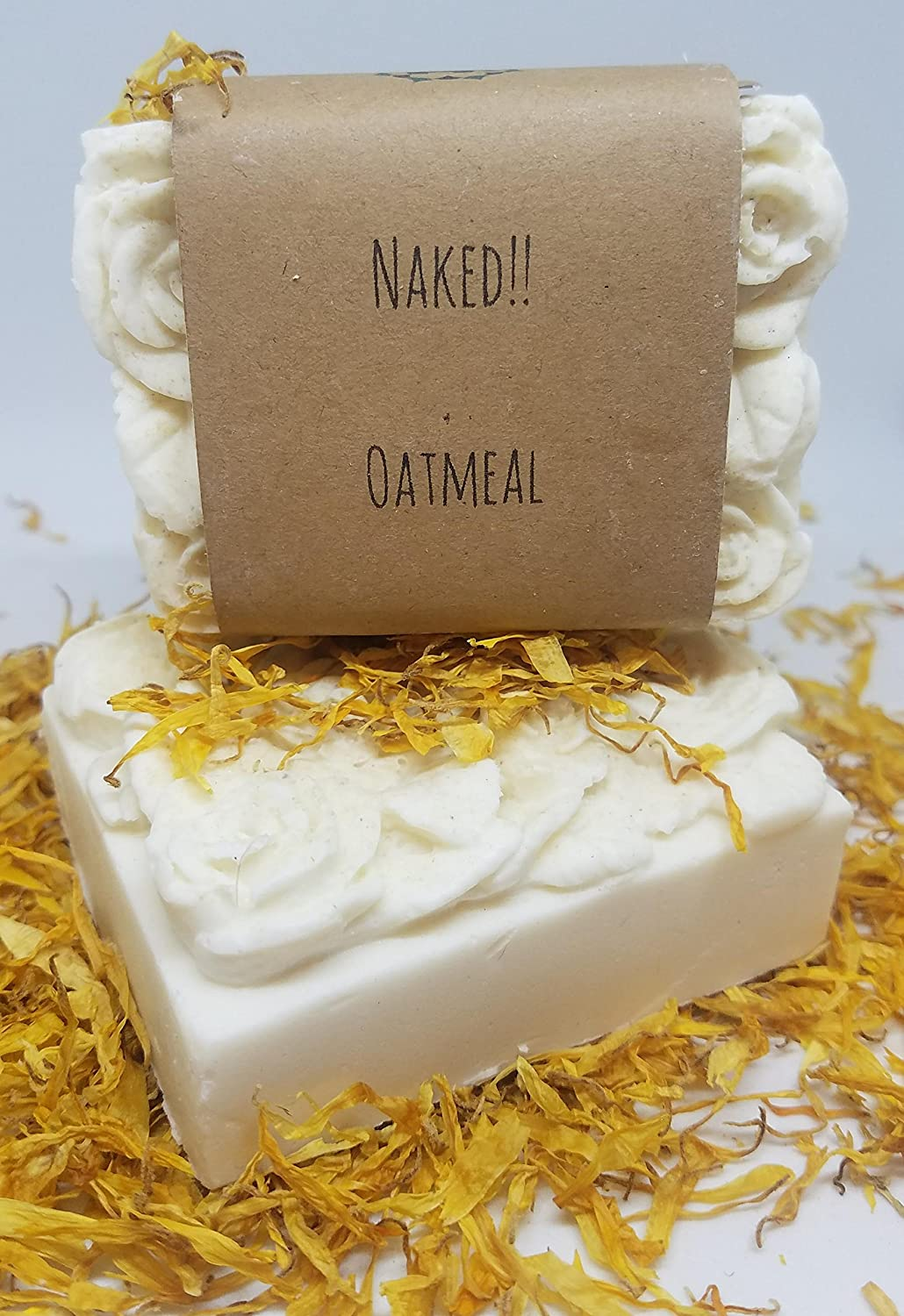 The Honest Elephant Handmade Naked! Oatmeal Lathering Soap in Rose & Leaf Shaped Brick - Fragrance Free, Color Free | FREE SHIPPING!