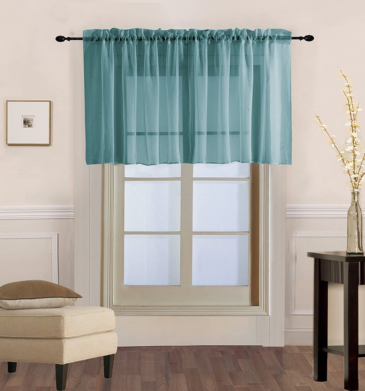 "Decotex 1 Piece Sheer Voile Rod Pocket Multi Use Straight Window Curtain Valance Topper Available In a Variety Of Colors (55"" X 36"", Slate Blue)"