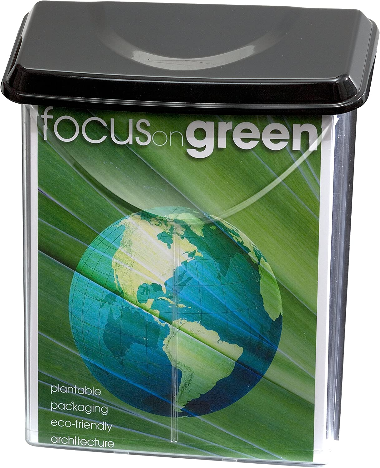 """Officemate Outdoor Literature Holder , Holds 8 ½"""" x 11"""" Letter Size, Clear with Black Lid (23020)"""