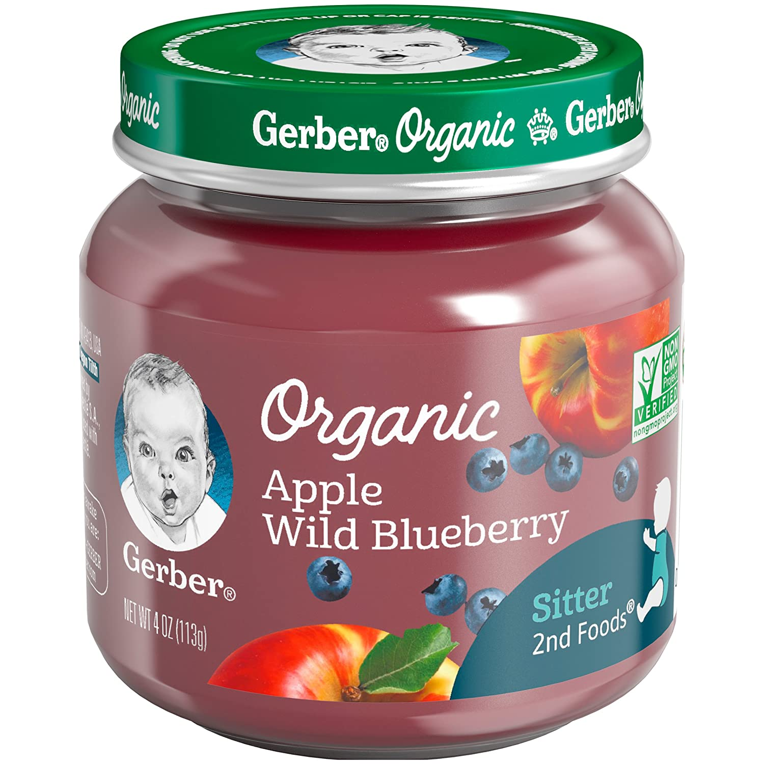 Gerber Purees Organic 2nd Foods Apple Wild Blueberry Baby Food Glass Jar (Pack of 6)