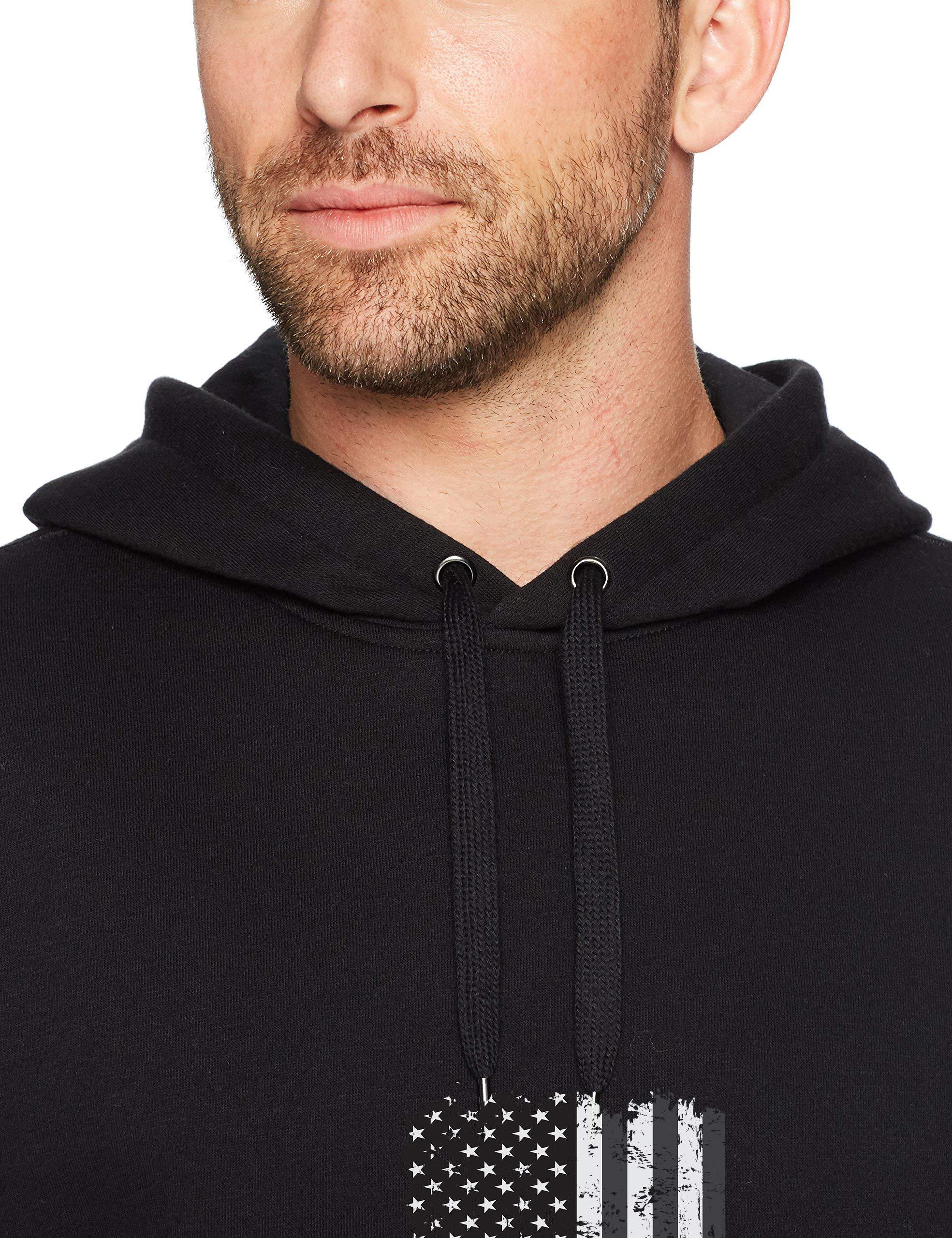 Mens Distressed USA Flag Black Hoodie - Trendy Crewneck College Sweatshirts Apparel Vintage Pullover Hoody Cool Sweater with Drawstrings Pockets Large