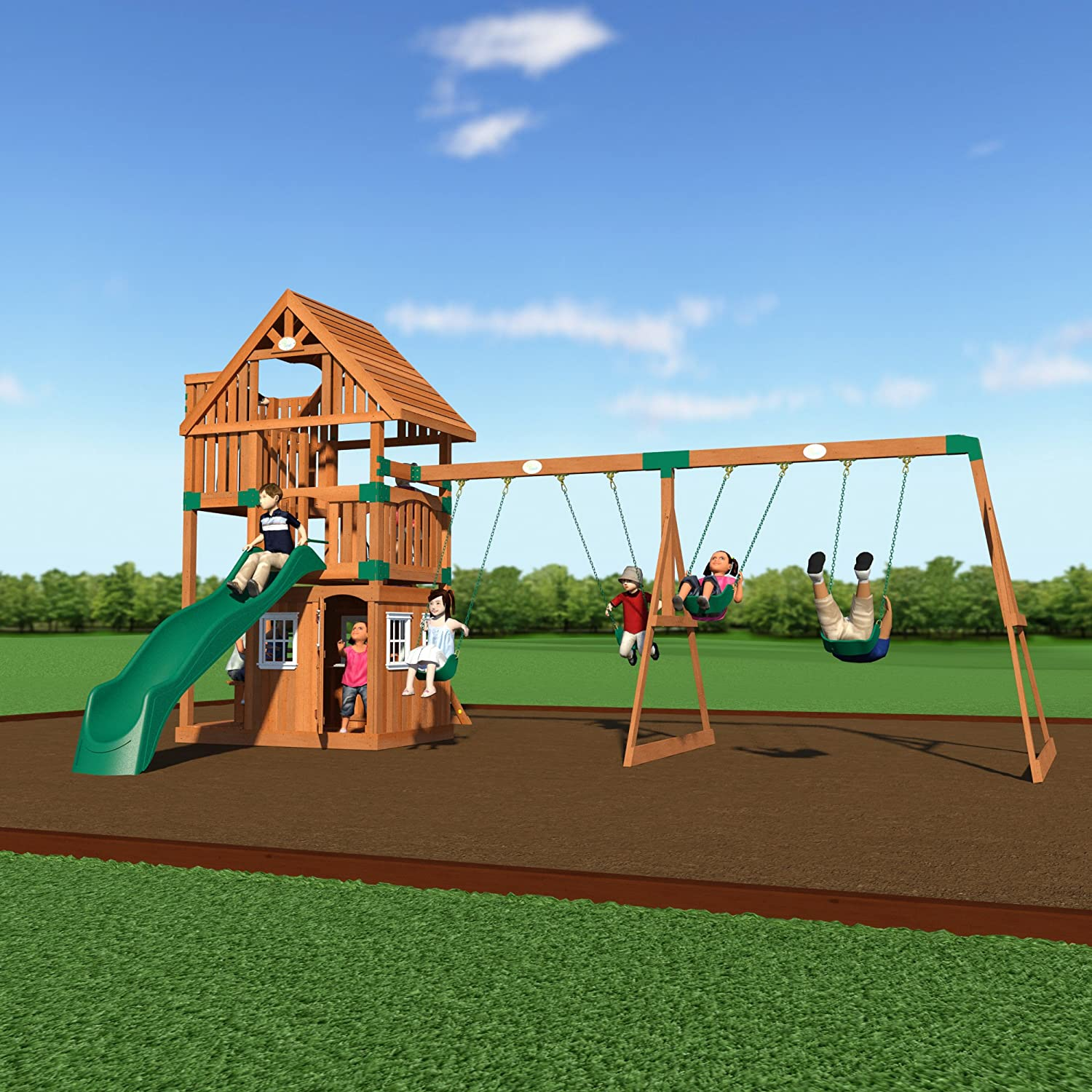 Amazon.com: Backyard Discovery Wanderer All Cedar Wood Playset Swing Set:  Toys U0026 Games