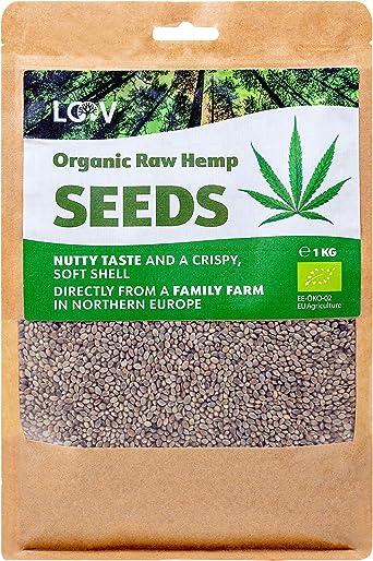 Semillas de Cáñamo Enteras Crudas Orgánicas LOOV, 1 kg, no tratadas térmicamente, conserva los nutrientes, sabor a nuez, cultivadas en clima nórdico, ...