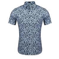 COOFANDY Men's Floral Print Casual Short Sleeve Button Down Shirt