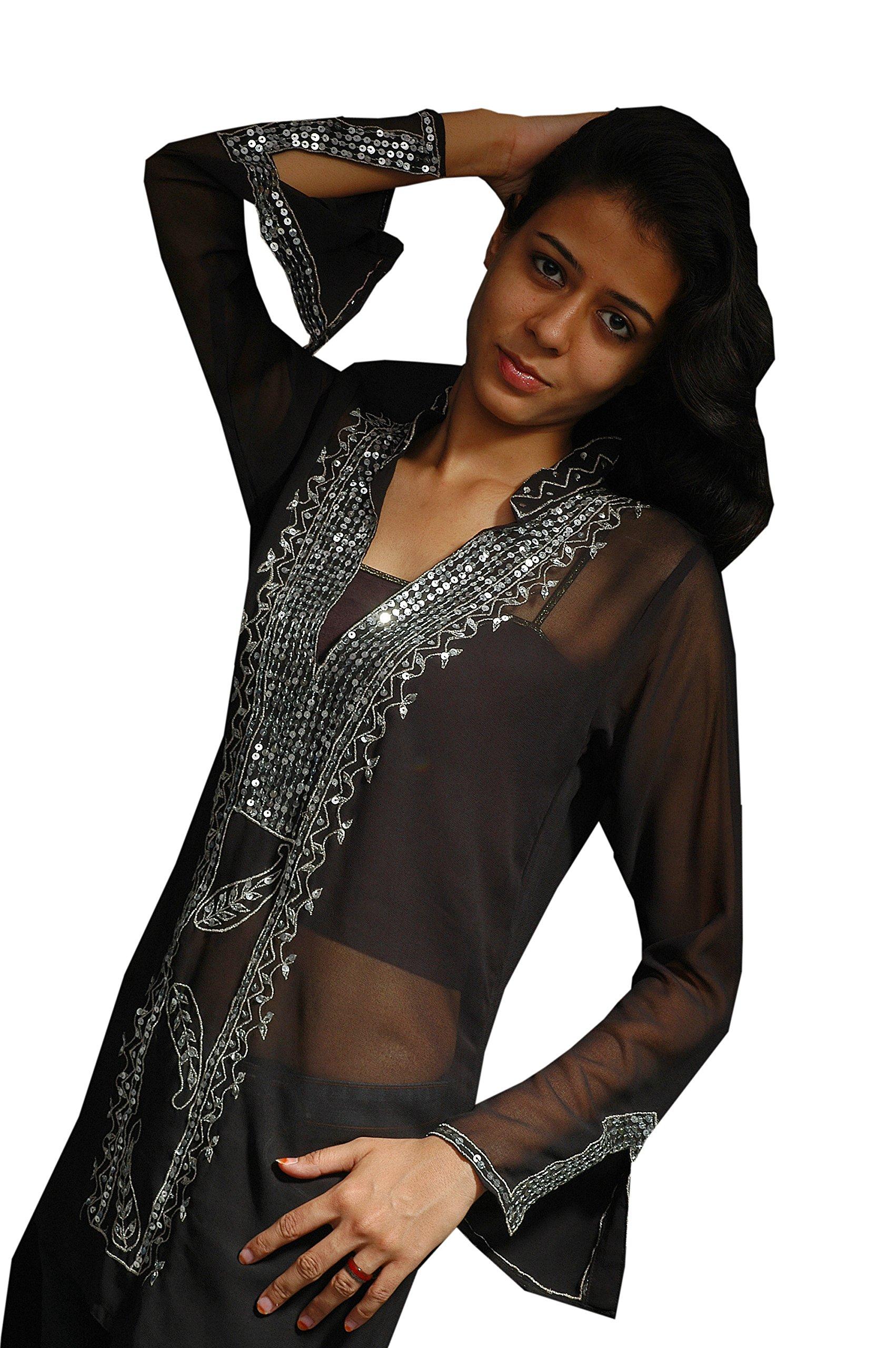 Gray Color Georgette Tunic Neck Sequence Work Dress (xxl) by Jayayamala