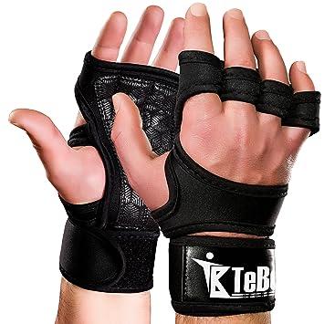 Cruz guantes de entrenamiento con muñequera para hombres y mujeres, Unisex sin dedos neopreno entrenamiento