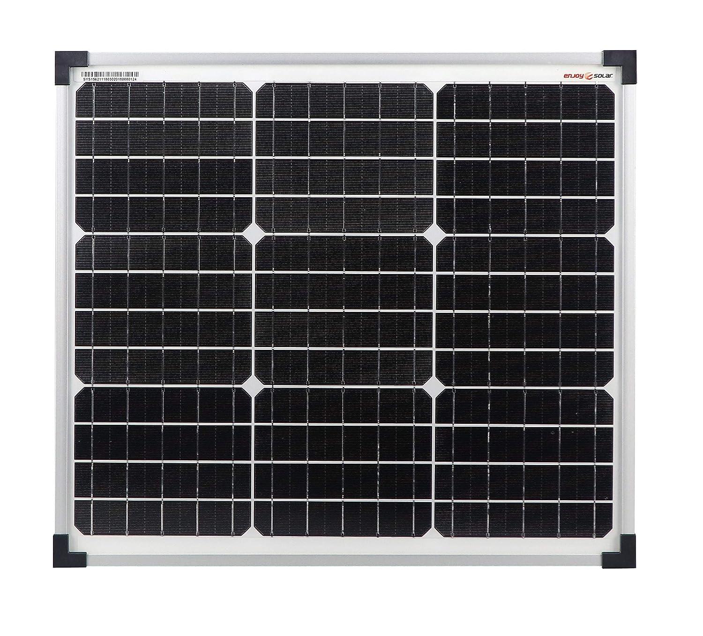 Enjoysolar® Monocrystalline 30Watt 12V Solar Panel Solar Panel Mono 30W Ideal for Bedding Campervan Caravan SolarV