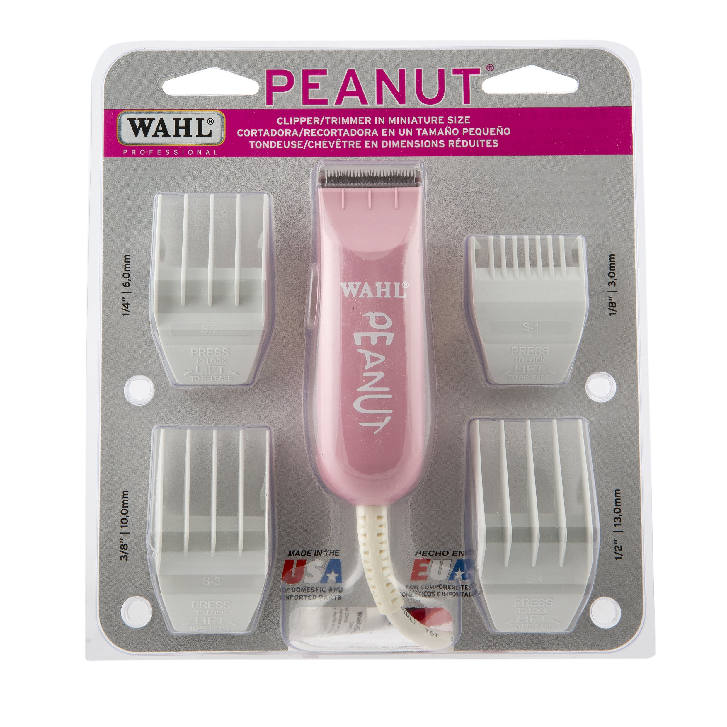 Wahl Professional Peanut Clipper/Trimmer #8655-1301, Pink – Great On-the-Go Trimmer for Barbers and Stylists – Powerful Rotary Motor