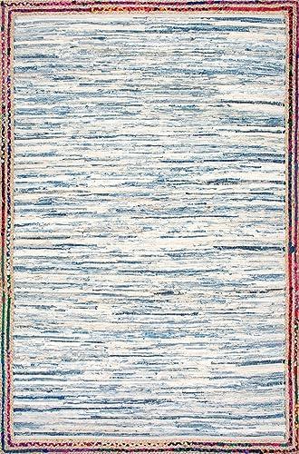 nuLOOM Elena Braided Border Jute Rug, 4 x 6 , Light Blue
