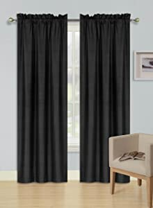 GorgeousHomeLinen (R64) 1 Black Soft Curtain Thermal Insulated Lined Foam Backing Rod Pocket Blackout Drape Panel (84