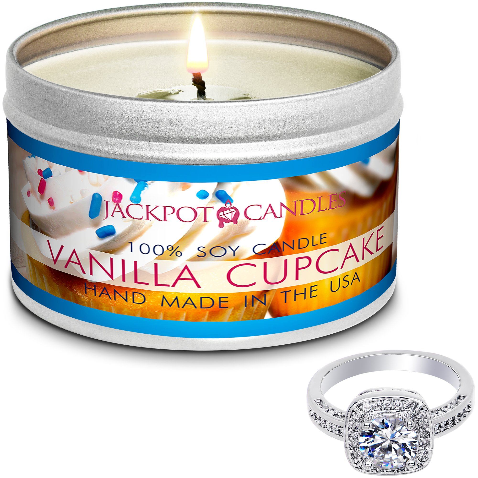 Jackpot Candles Surprise Size Ring Vanilla Cupcake Jewelry Candle Travel Tin by Jackpot Candles (Image #1)