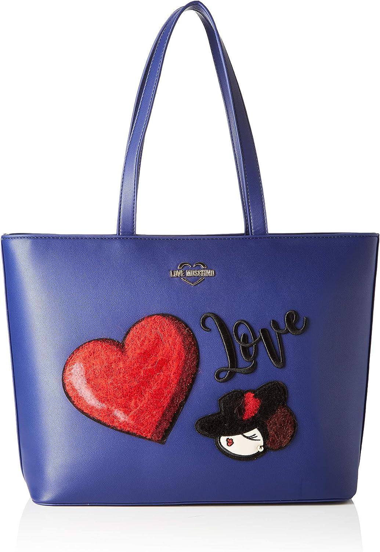 Love Moschino Borsa Pu, Bolso tipo tote para Mujer, Negro, 30x12x43 centimeters (W x H x L) Azul (Blu)