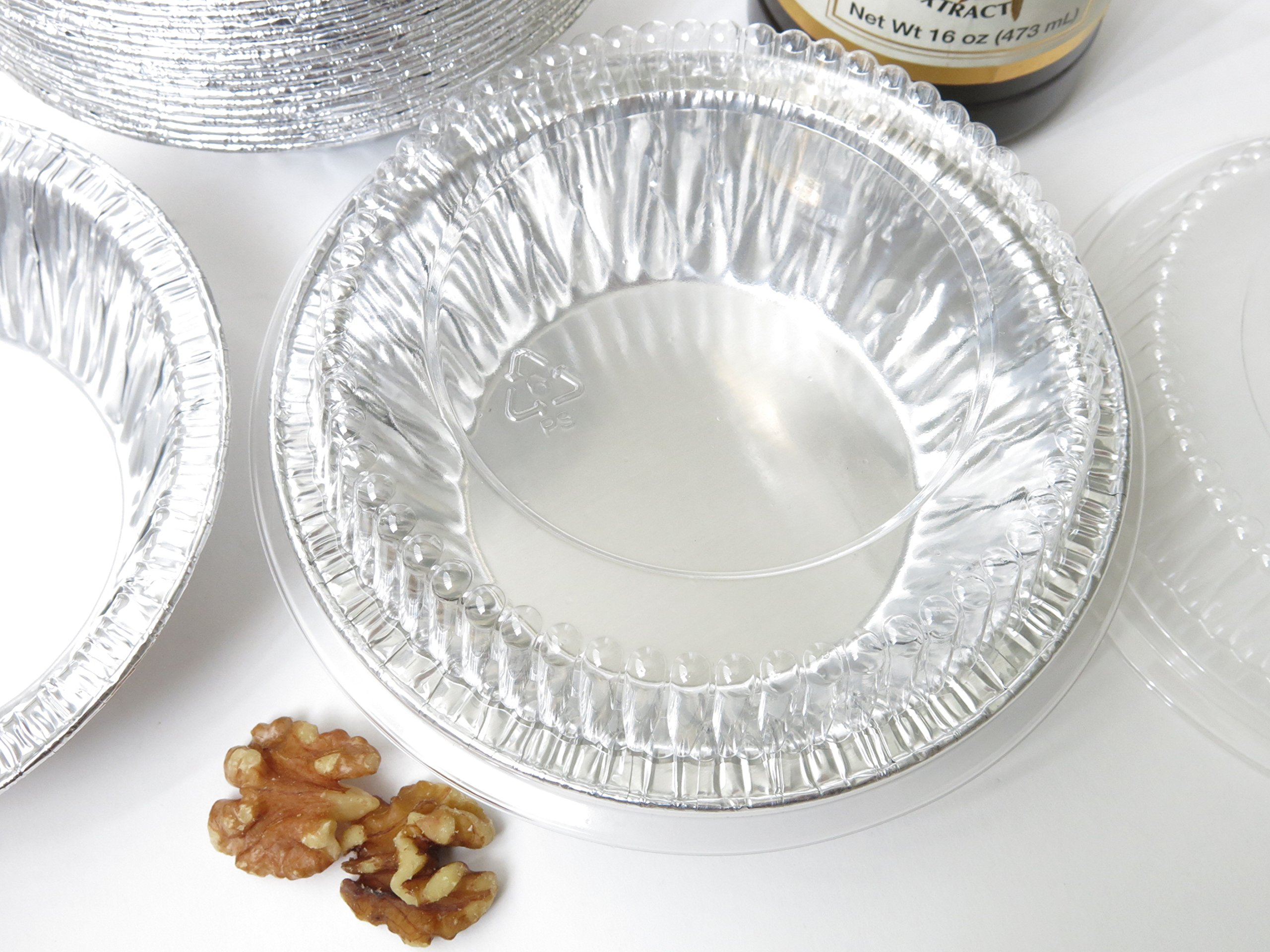 Disposable Aluminum 5'' Tart Pan/individual Pie Pan w/ Clear Dome Lid #501P (1,000) by KitchenDance (Image #3)