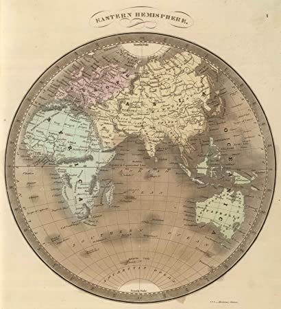 Amazon.com: World Atlas | 1848 Eastern Hemisphere. | Historic ...