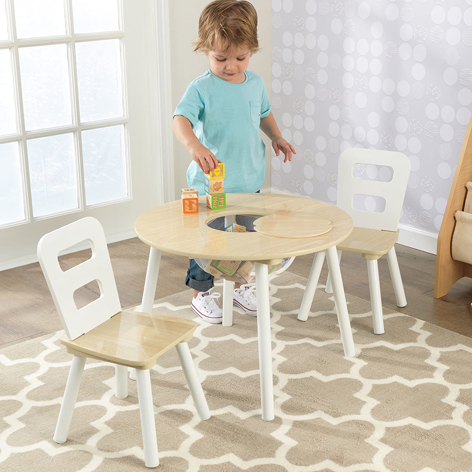 Amazon.com: KidKraft Round Table and 2 Chair Set, White/Natural ...