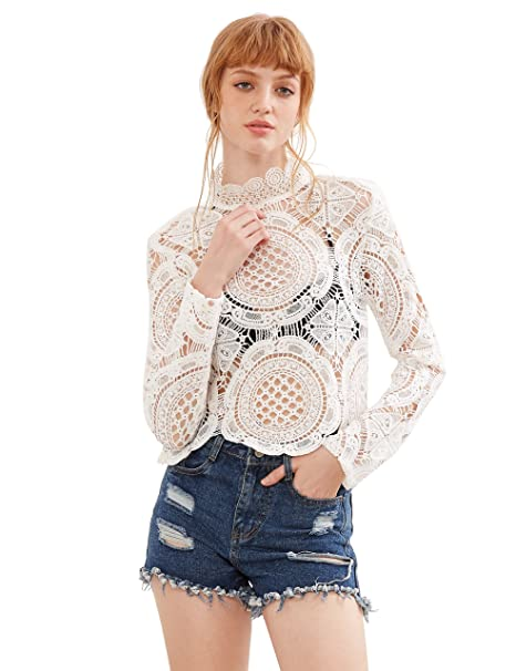 f7645a1c5d SheIn Women's Mock Neck Long Sleeve Sheer Crochet Plain Lace Top Blouse at Amazon  Women's Clothing store:
