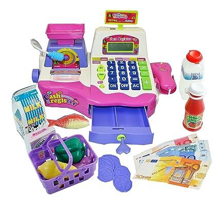 7111c5d93343 Kids Toy Supermarket Till, Cash Register, Shop Till - Pink (Pink): Amazon.co .uk: Toys & Games
