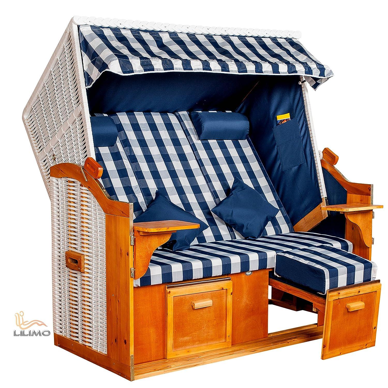 Strandkorb Ostsee BLB XXL, Bezug blau-weiß kariert, LILIMO ®