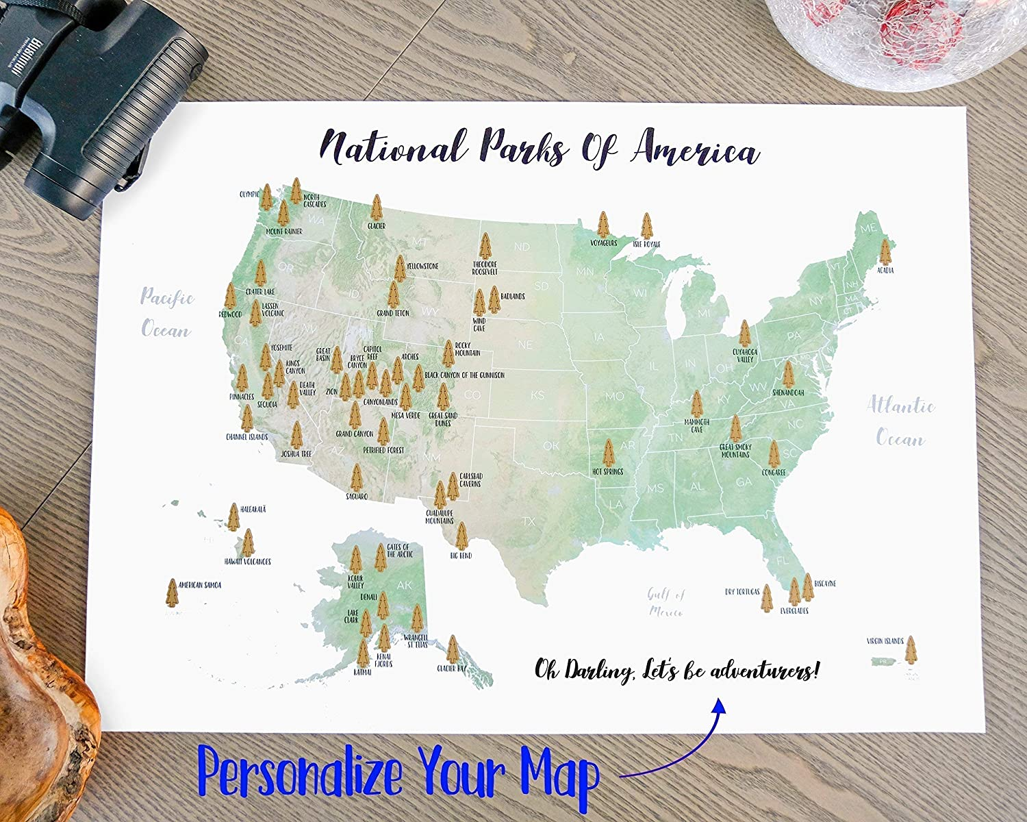 Scratch-off Personalized US National Park Map - Golden Scratch-off surface  - Watercolor - Large size 17x23.5\