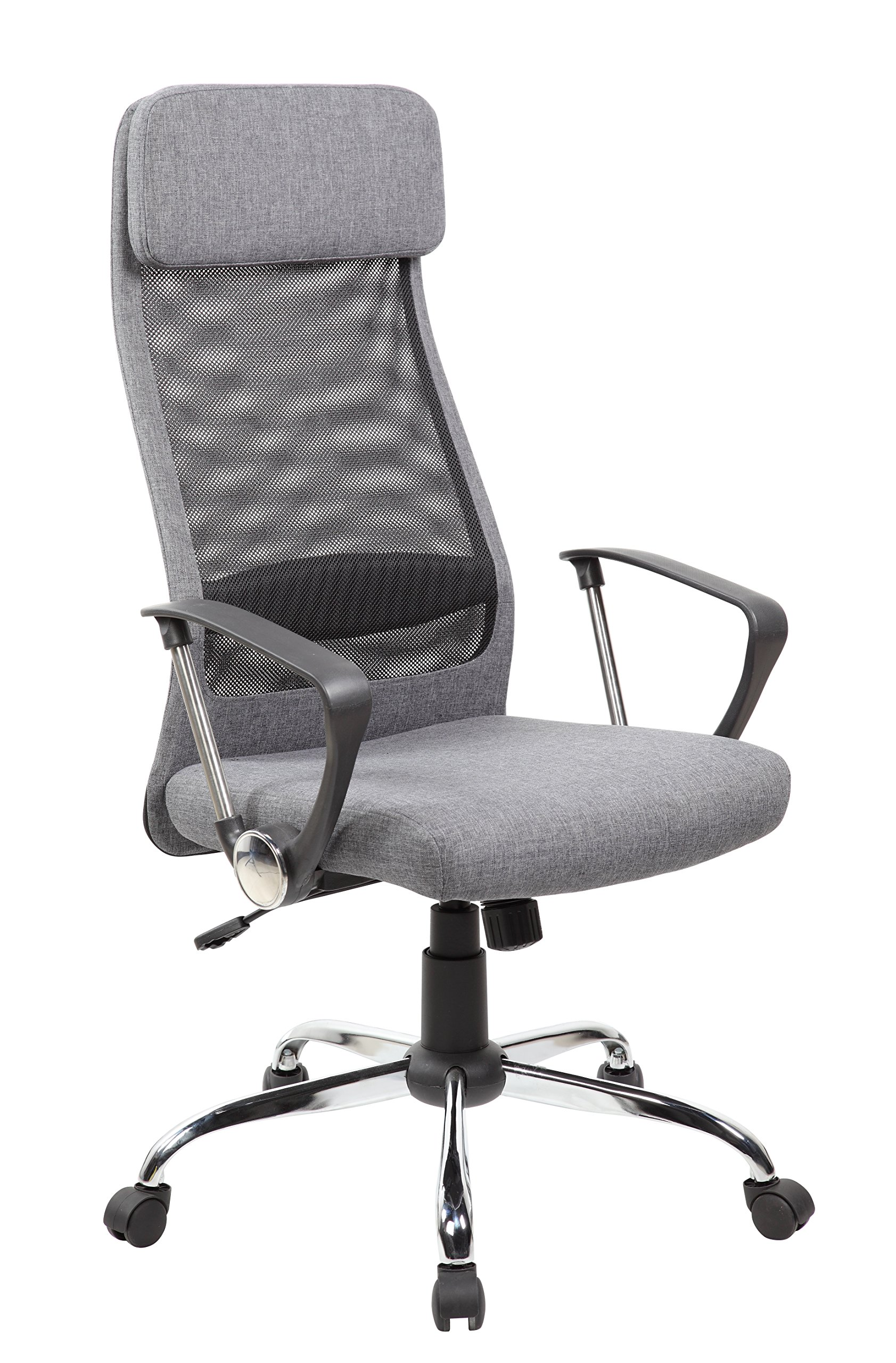 KERLAND High Back Mesh Ergonomic Swivel Adjustable Seat Height Padded Headrest Computer Desk Executive Office Chair With Arms, Gray by KERLAND