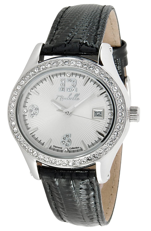 Miabelle Damen-Armbanduhr Analog Quarz Diamanten Leder Schwarz - 12-012W-A-MB