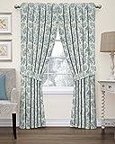 "Waverly 15402052063CRF Floral Window Curtain, 52"" x 63"", Cornflower"