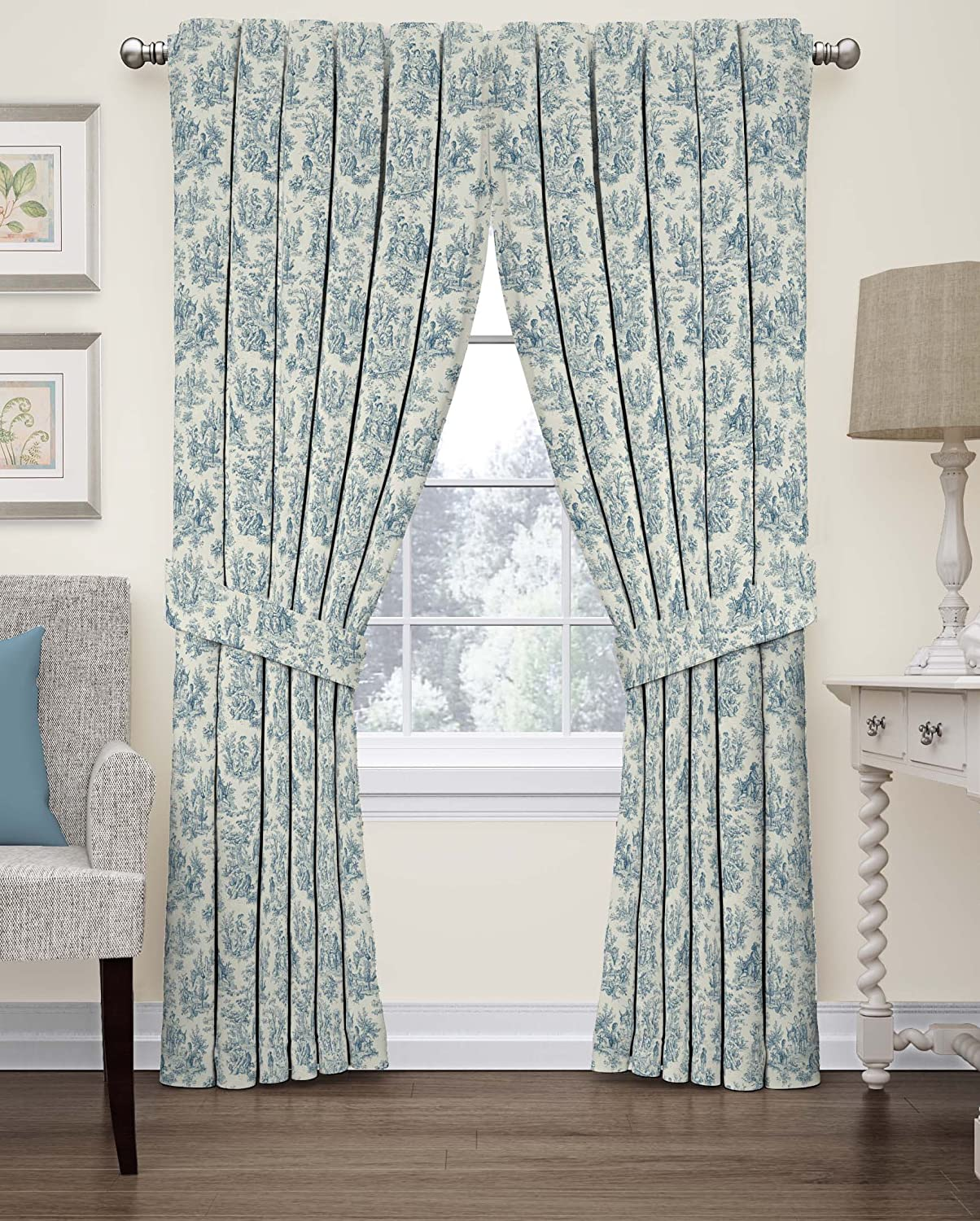 French country curtains waverly - Amazon Com Waverly 15402052063crf Charmed Life 52 Inch By 63 Inch Toile Single Window Curtain Panel Cornflower Home Kitchen