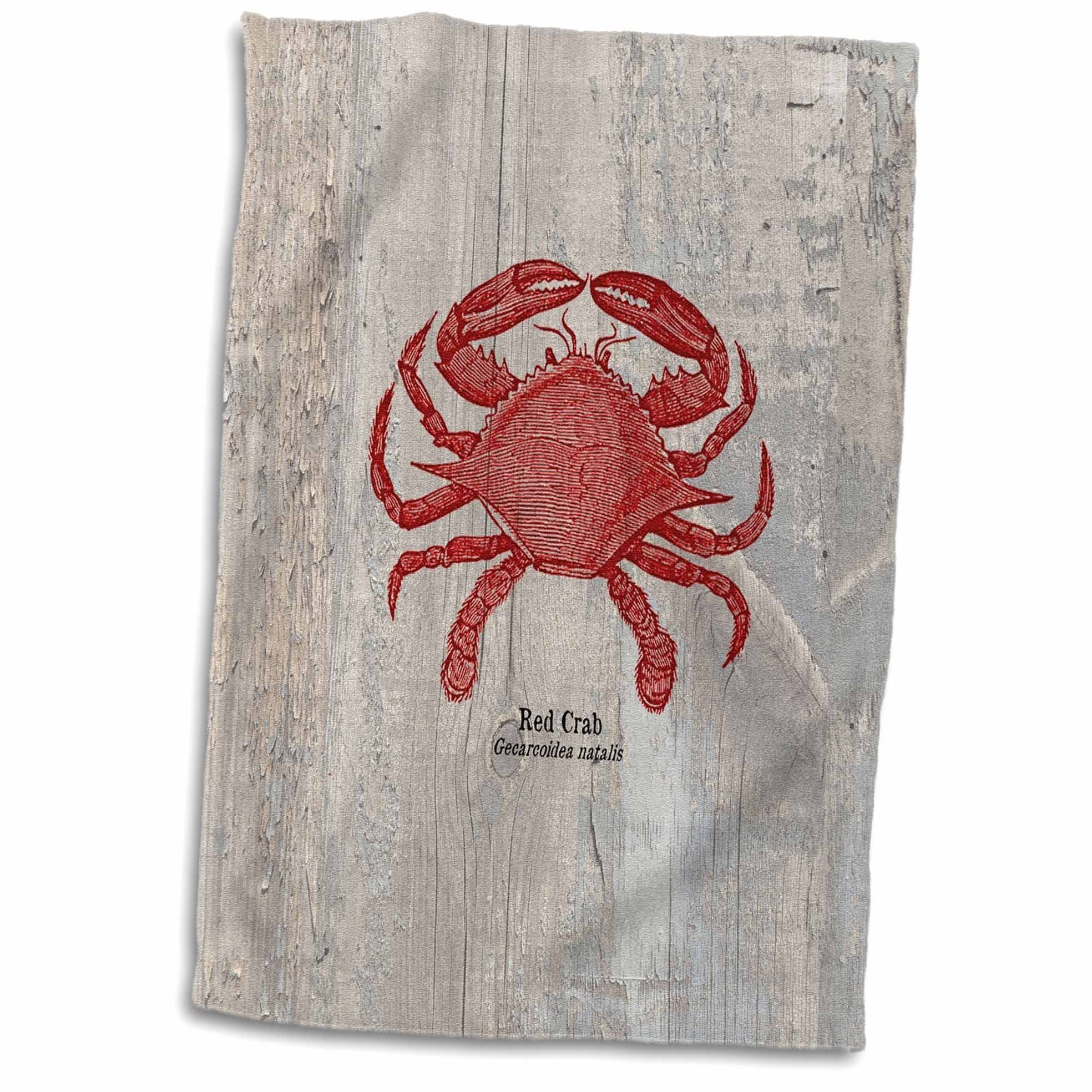 3D Rose Red Crab on Wood-Beach Themed Art-Fish Hand/Sports Towel, 15 x 22