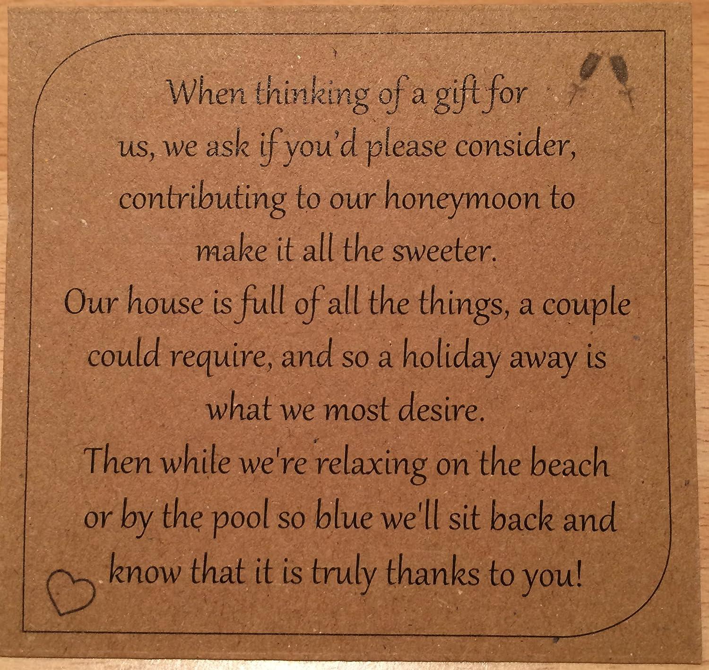 Money Request Poems 100 For Wedding Invitations Black on Kraft Card Square Honeymoon