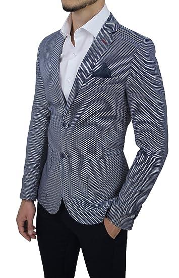 Giacca Uomo Sartoriale Made in Italy Blu Micro Fantasia Elegante Formale  Cerimonia  Amazon.it  Abbigliamento ca7cb797dc4