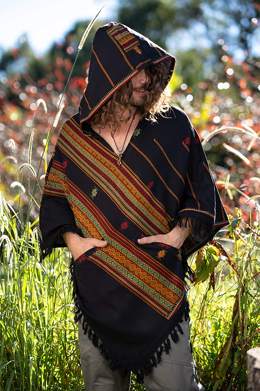 Handmade Green and Black Hooded Mens Poncho Cashmere Wool with Large Hood and Pockets Jungle Primitive Gypsy Festival Mexican Tribal Embroidered Celtic Earthy Winter Tibetan AJJAYA Wild /…