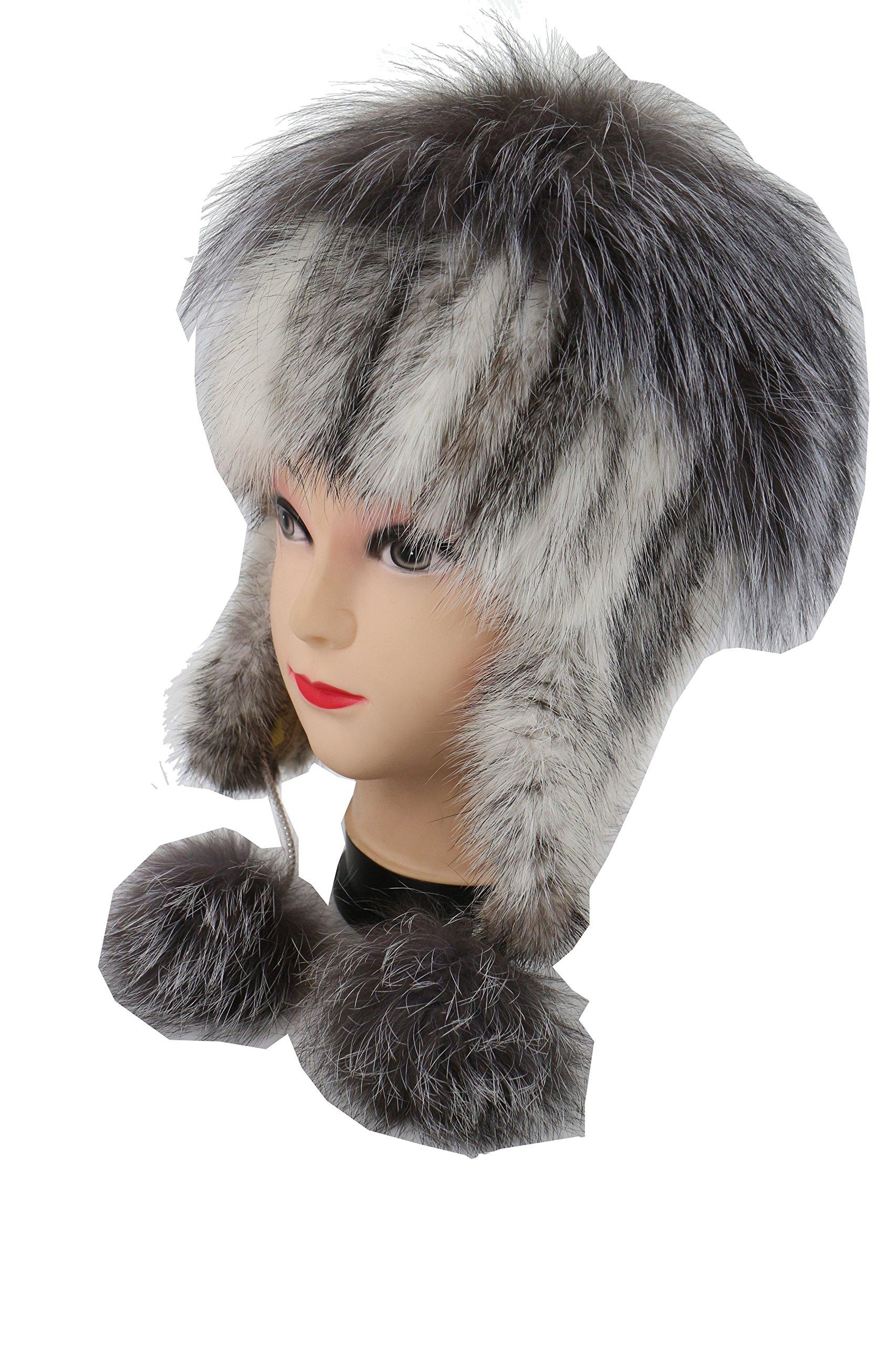 Ysting Real Knit Mink Fur Hat Silver Fox Fur Pom Ear Protection Cap Fur Beanie (C)
