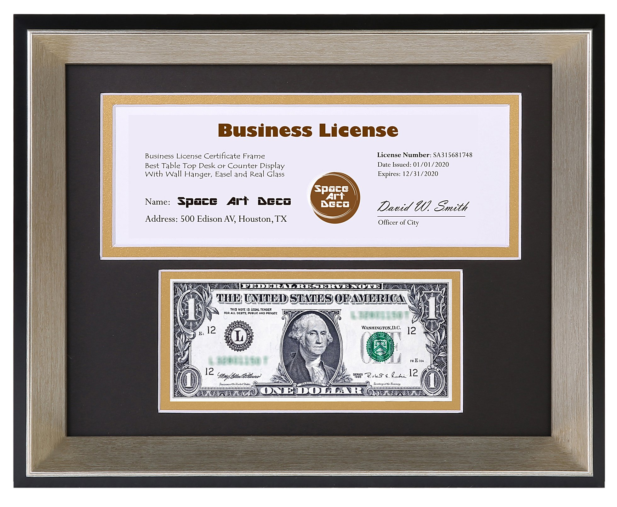 8.5x11 Black Frame with Silver Beveled Edge- Black over Gold Double Mat with Two Openings- First Dollar - Certificate/License Frame- Easel Stand - Sawtooth Hanger - Wall Mount (8.5x11, Black/Silver)