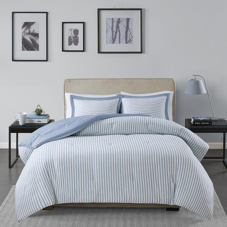 Madison Park Essentials Hayden Reversible Stripes – 3 Piece Teen Set – Ultra Soft Microfiber Bed Comforters, King/Cal King, Blue