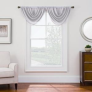 "Style Decor Antique Satin Domain Rod Pocket Style Room Darkening Waterfall Window Valance, 36"" x 26"", Val 36""x26"", Crystal"