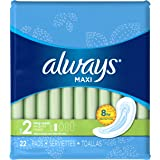 Always Maxi Size 2 Long  Pads Without Wings, Super Absorbency,  Unscented, 22 Count (Packaging May Vary)