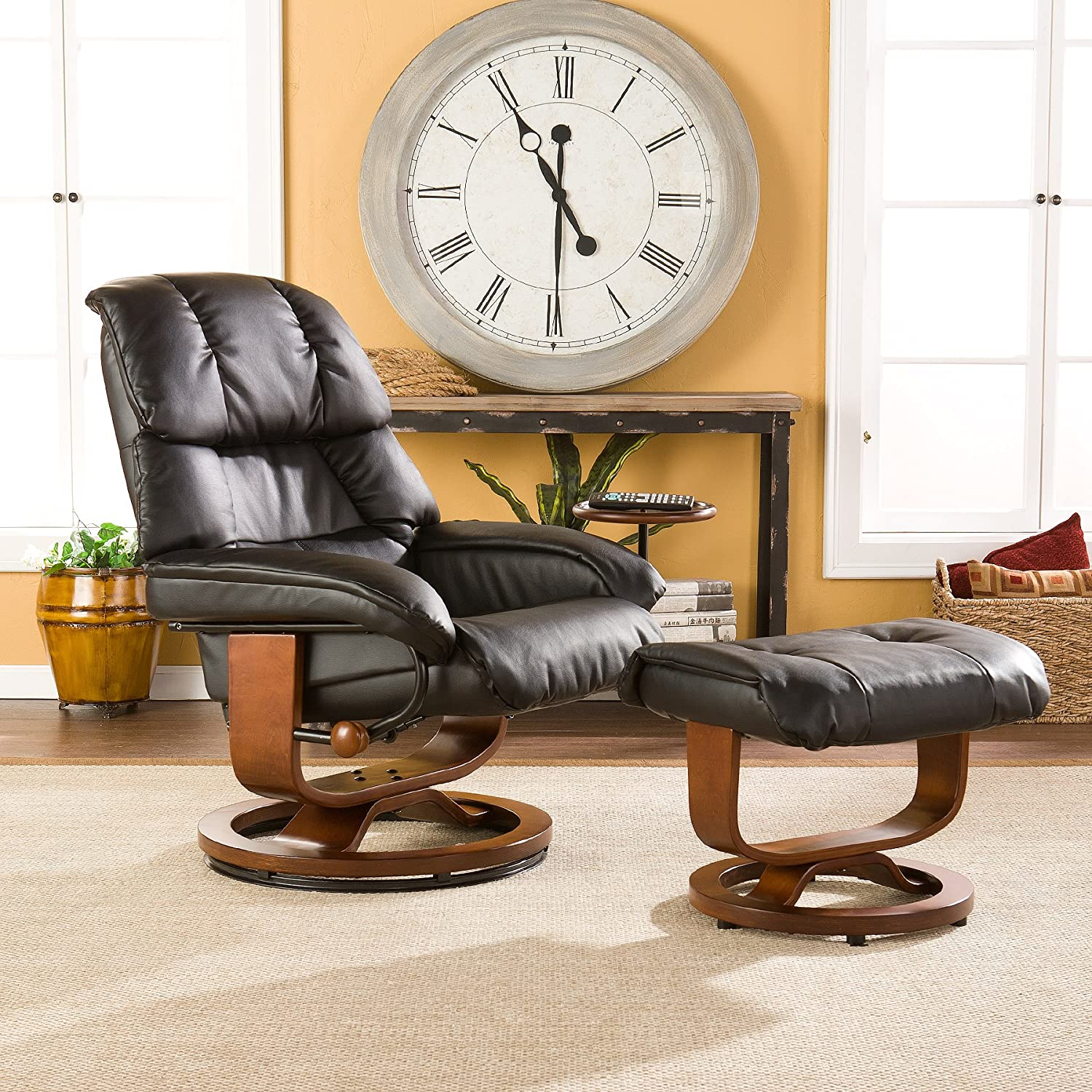 Amazon Bonded Leather Recliner and Ottoman Black Kitchen