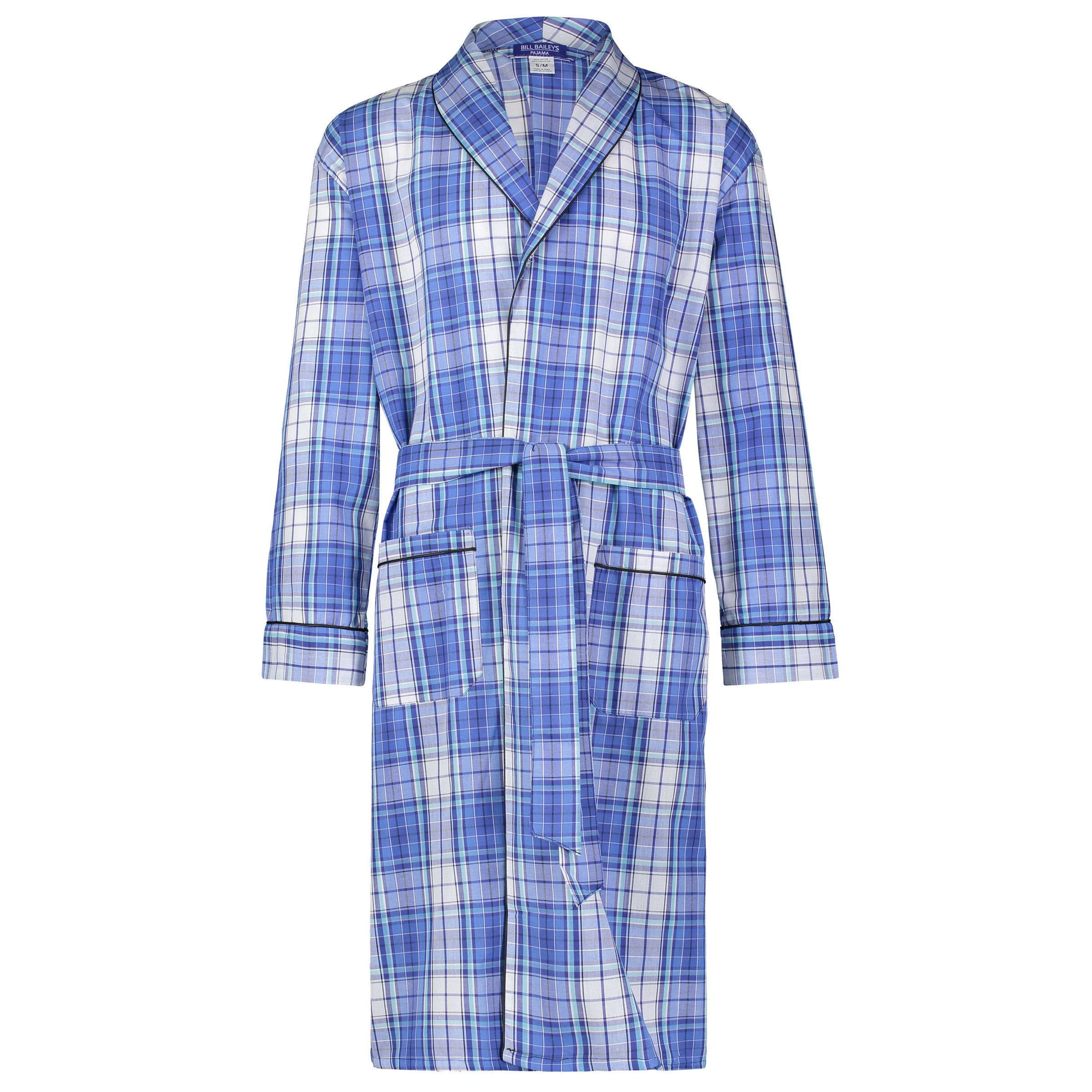 Bill Baileys Men's Long Sleeve Premium Cotton Blend Woven Robe Lightweight Sleep & Morning Robe (2X-Large, Teal Blue Plaid)