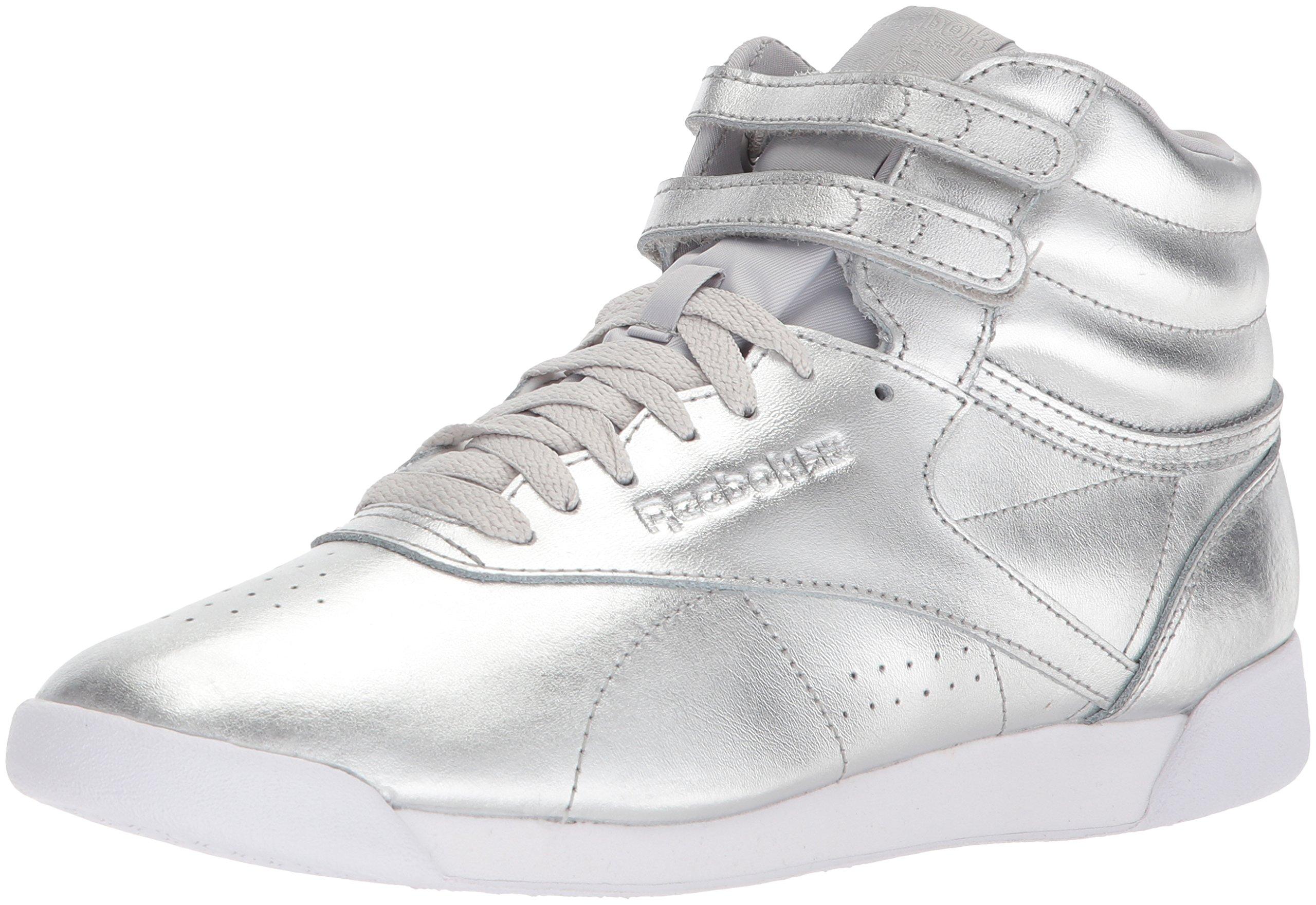 Reebok Women's F/S HI Metallic Sneaker, Silver Met/Steel/White, 8 M US