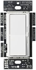 Lutron Diva C.L Dimmer for Dimmable LED, Halogen and Incandescent Bulbs, Single-Pole or 3-Way, DVCL-153P-WH, White