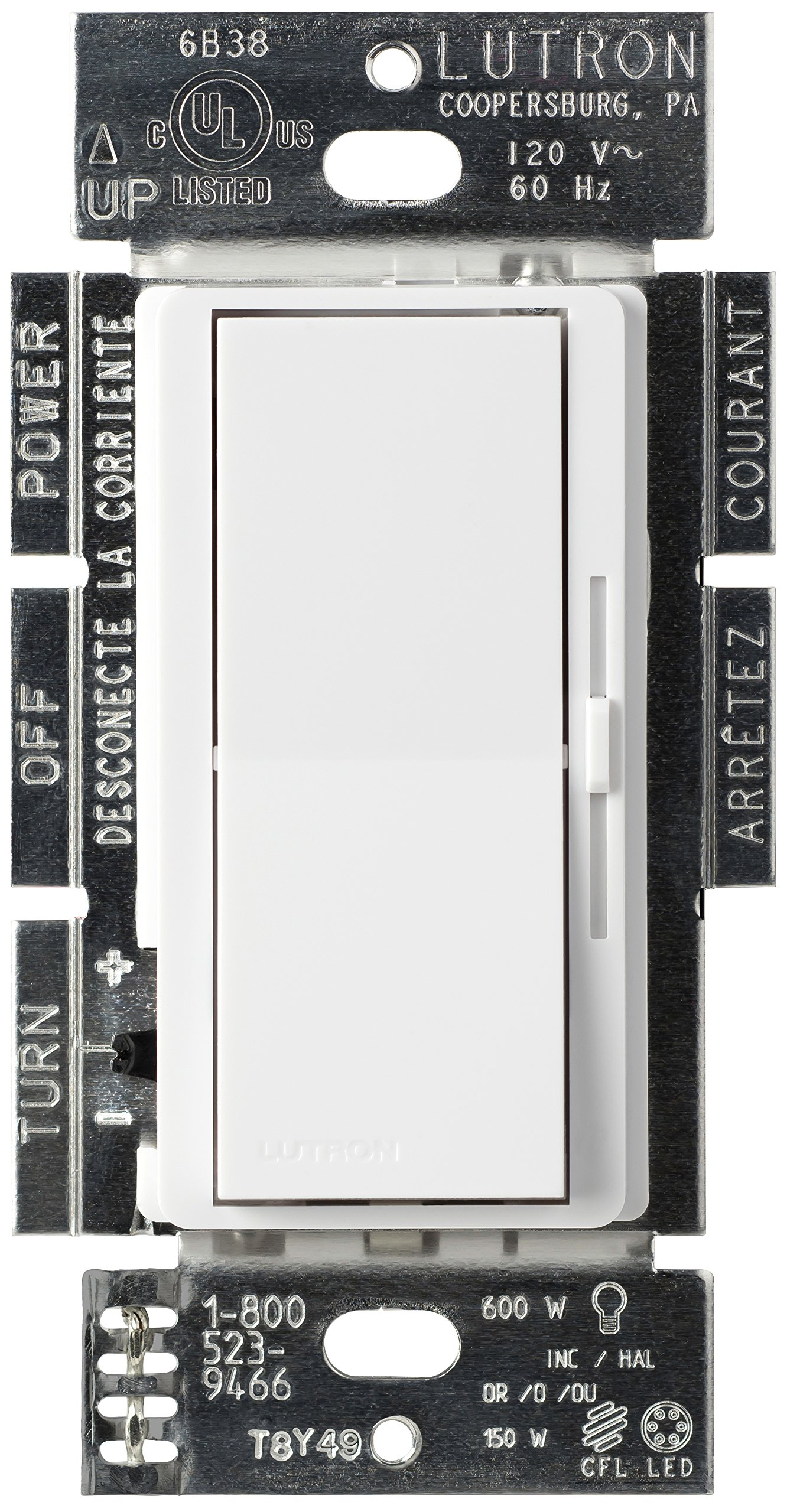 Lutron Diva C.L Dimmer for dimmable LED, Halogen, and Incandescent Bulbs, Single-Pole or 3-Way, DVCL-153P-WH, White