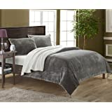 Chic Home 3 Piece Evie Microplush Mink-Like Super Soft Sherpa Lined Comforter Set, Queen, Grey