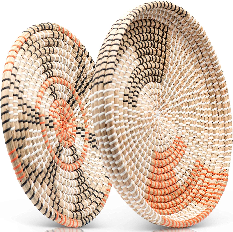 Woven Wall basket decor Boho Set - 2 Piece Set for basket wall art | Woven plates for wall baskets decor Boho flat | boho baskets for wall | Seagrass Hanging baskets for wall decor | Basket and Trivet