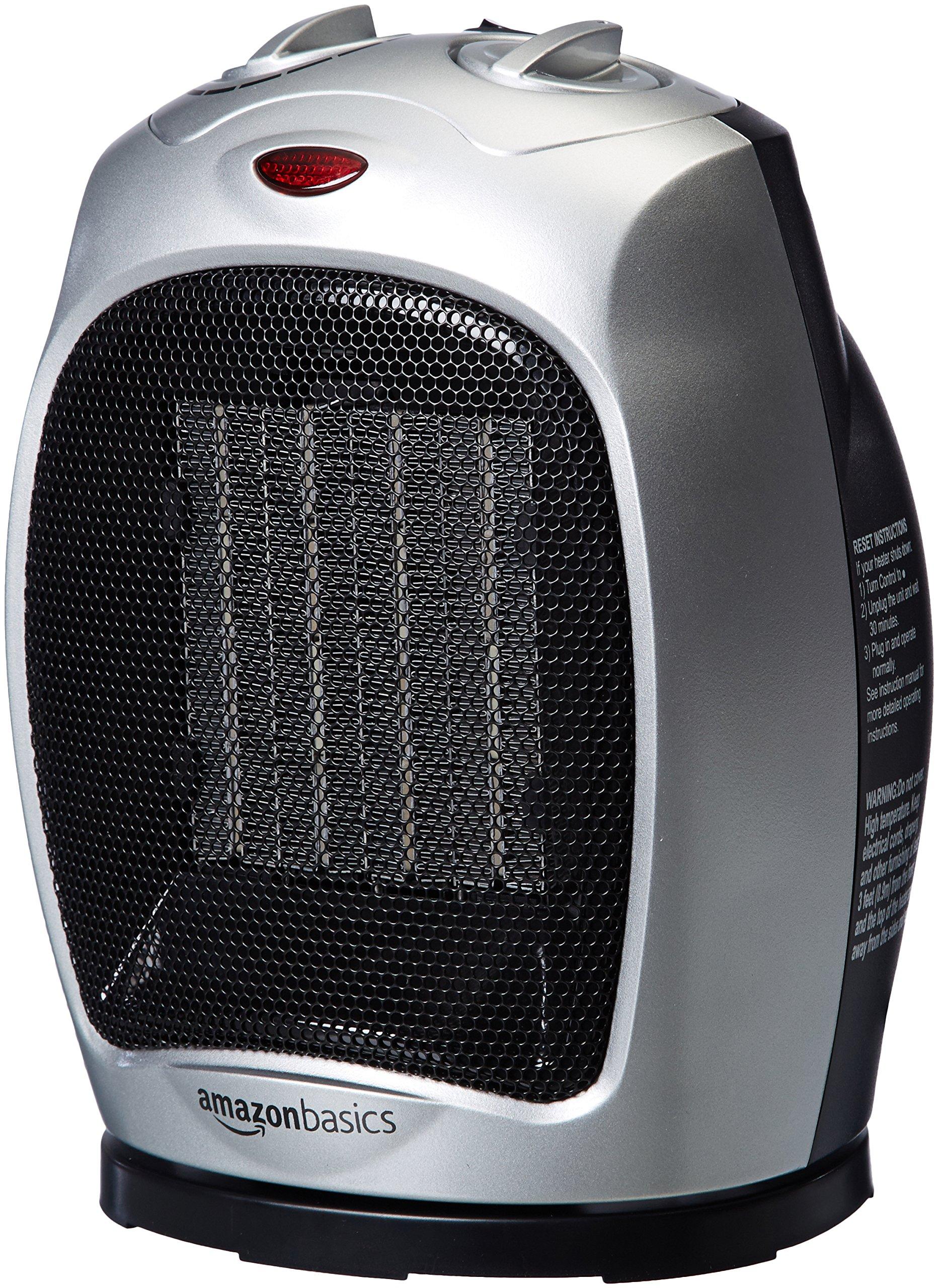 AmazonBasics 1500 Watt Oscillating Ceramic Space Heater with Adjustable Thermostat - Silver