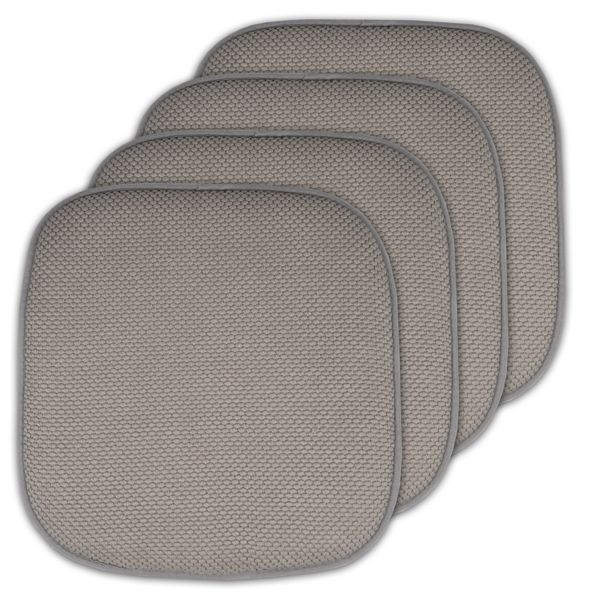 Sweet Home Collection Memory Foam Honeycomb Non-Slip Back Chair/Seat Cushion Pad (4 Pack), 16'' x 16'', Silver